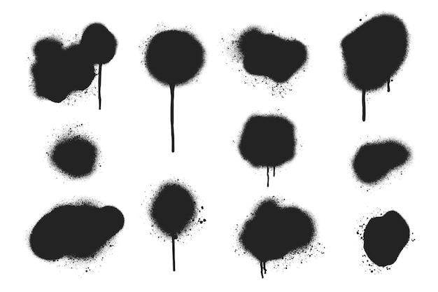 Linhas de spray pintadas à mão e coleção de gotas
