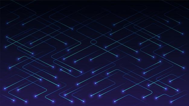 Linhas de tecnologia vetorial com partículas brilhantes no azul