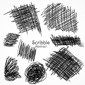 Linhas de tinta de caneta na mão estilo rabisco desenhado coleção set