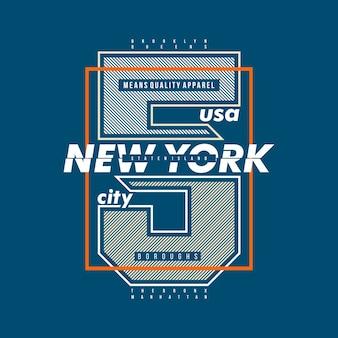 Linhas de tipografia gráfica de cidade de nova york