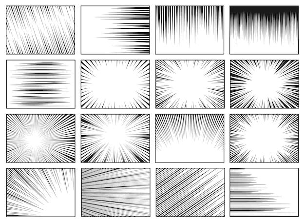 Linhas de velocidade fundos de movimento em alta velocidade horizontal linear efeito manga raios de sol radiais retro