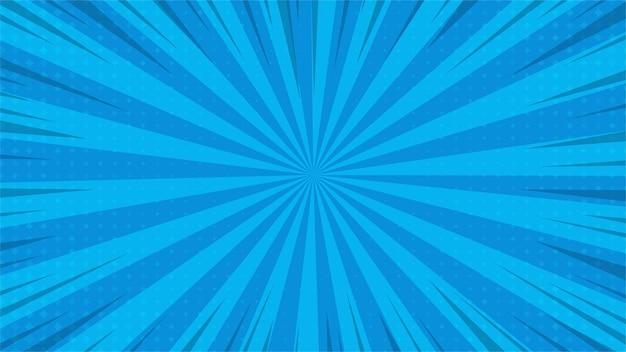 Linhas de zoom azul dos desenhos animados em quadrinhos abstratos com meio-tom.