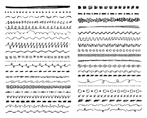 Linhas decorativas desenhadas à mão, formas abstratas e curvas para decoração