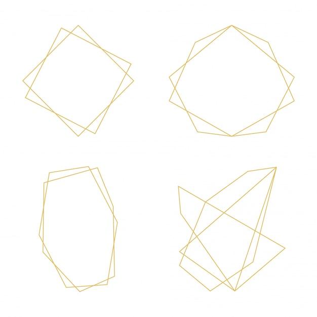 Linhas decorativas geométricas de quadros de ouro ornamento ícones