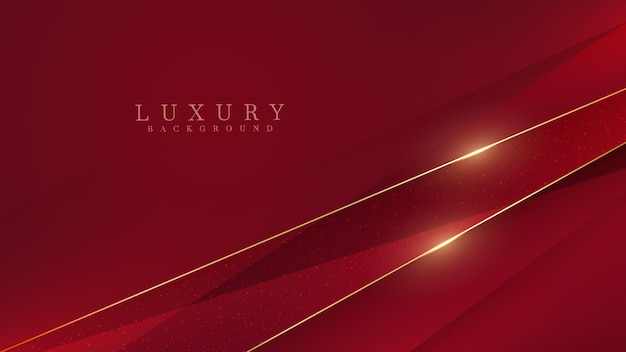 Linhas diagonais douradas brilham sobre fundo vermelho de luxo, conceito moderno de design de capa, ilustração vetorial.