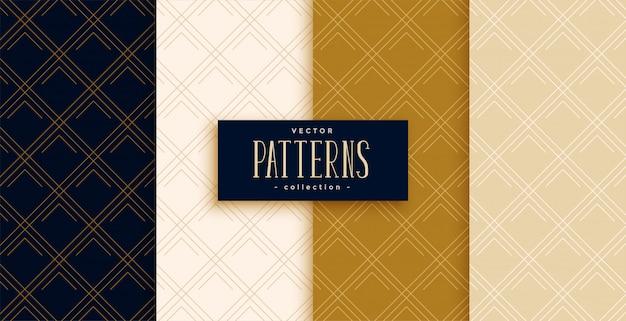 Linhas diagonais ou padrões de diamante definidos em cores premium