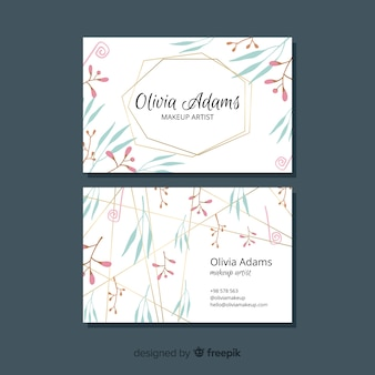 Linhas douradas com conceito de tema floral para cartão de visita