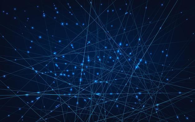 Linhas e nós conectados em células de computador web