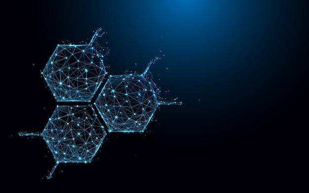 Linhas e partículas da forma do ícone da estrutura da molécula.