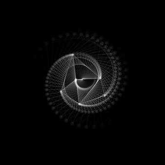 Linhas e pontos brancos, torção em espiral. forma geométrica abstrata.
