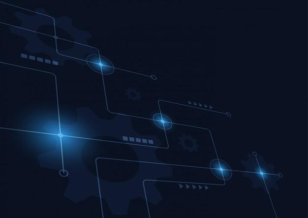 Linhas e pontos geométricos abstratos de conexão fundo gráfico da tecnologia simples.