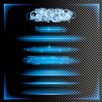 Linhas e quadros abstratos das luzes no fundo transparente.