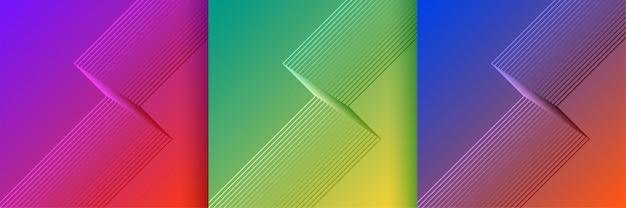 Linhas elegantes forma fundos ajustados em cores vibrantes