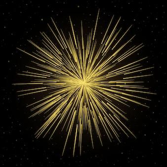 Linhas futuristas de fogos de artifício com pó de estrelas de partículas