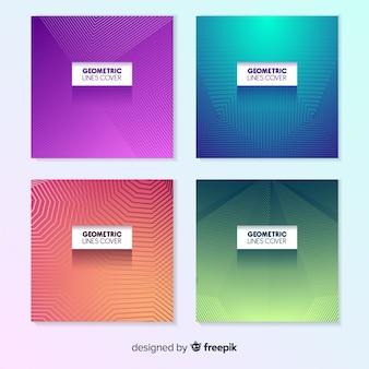 Linhas geométricas coloridas capa pacote