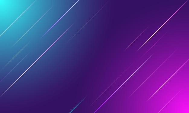 Linhas gradientes coloridas abstratas com luz azul e rosa sobre fundo roxo