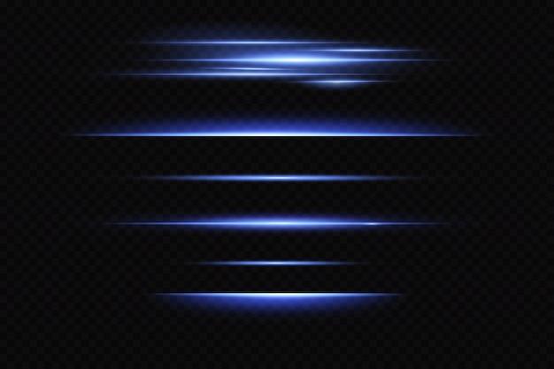 Linhas horizontais de néon, efeito de luz, laser brilhante.