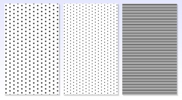Linhas horizontais. fundo de bolinhas. ilustração. listras, padrão de estrelas.