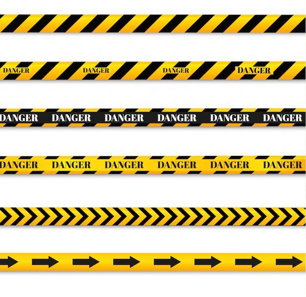 Linhas isoladas de isolamento. fitas de aviso realista. sinais de perigo.