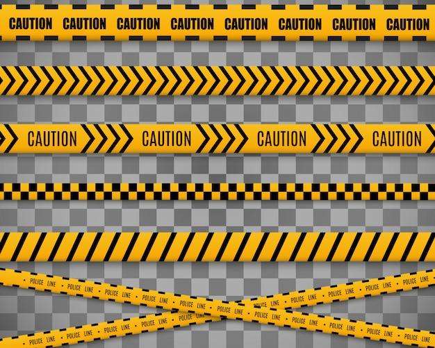 Linhas isoladas. fitas de advertência. cuidado. sinais de perigo. ilustração. amarelo com fita preta da polícia e fitas de perigo. ilustração.