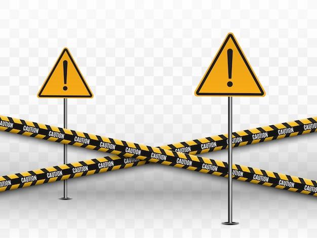 Linhas isoladas. fitas de advertência. cuidado. sinais de perigo.