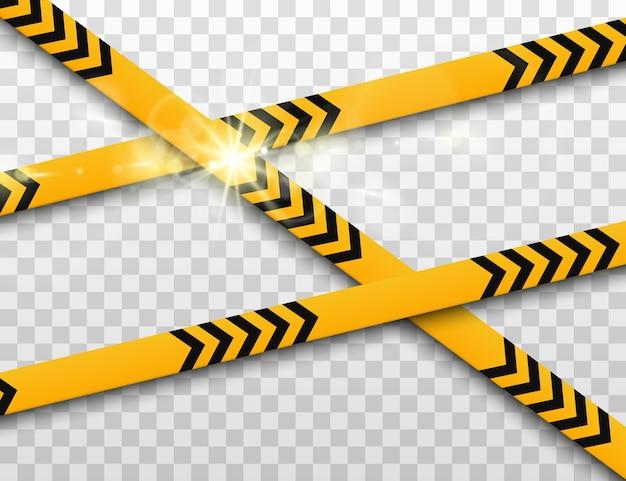 Linhas isoladas. fitas de advertência. cuidado.
