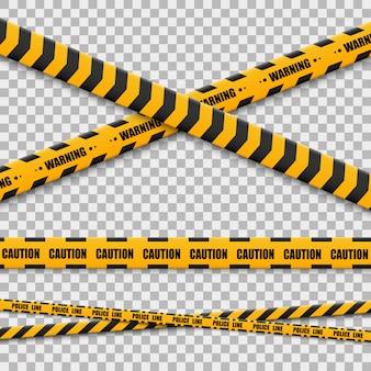 Linhas isoladas. fitas de aviso. cuidado. sinais de perigo.