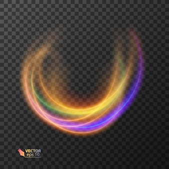 Linhas onduladas coloridas abstratas de luz em fundo escuro