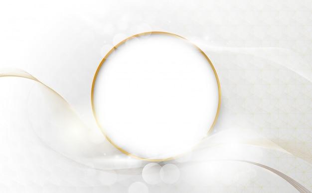 Linhas onduladas de luxo abstrato com borda de círculo de ouro