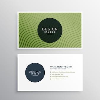 Linhas onduladas diagonais verdes design de vetor de cartão de visita