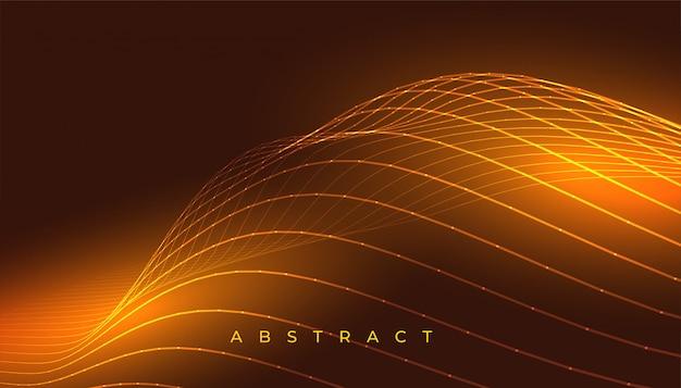 Linhas onduladas douradas brilhantes abstraem design de fundo