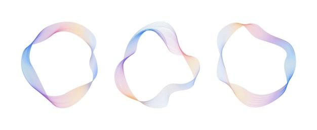 Linhas onduladas fluidas abstratas círculo gradiente anel digital equalizador de faixa de freqüência redonda vector
