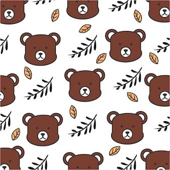 Linhas planas de estilo de urso bebê fofo