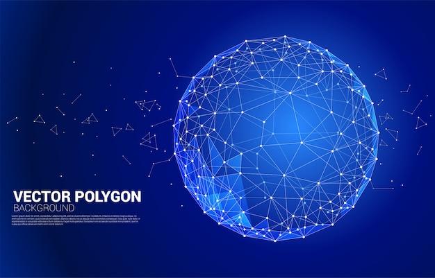 Linhas poligonais de estrutura de arame de vetor conectar ponto esfera geométrica isolada no fundo branco: conceito de grande volume de dados, conexão, digital