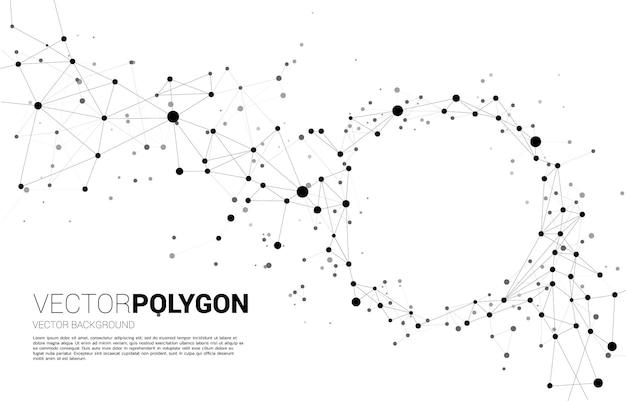 Linhas poligonais de wireframe conecte ponto esfera geométrica. conceito de tecnologia de rede e estilo futurista.