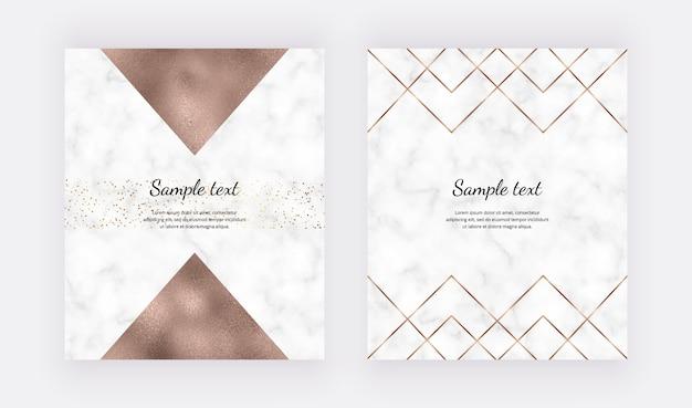 Linhas poligonais geométricas douradas e triângulos de folha de ouro sobre a textura de mármore.