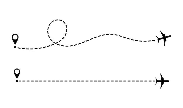 Linhas pontilhadas de rota de aeronaves, elemento de design de conceito de vetor. turismo e viagens. rota turística de avião. rastreia as linhas pontilhadas do viajante.