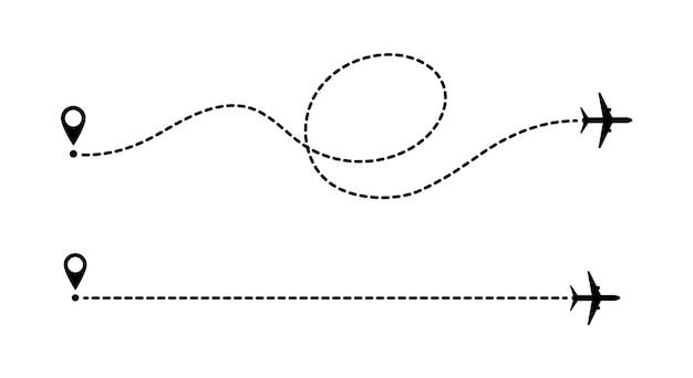 Linhas pontilhadas de rota de aeronaves isoladas no fundo branco. turismo e viagens. rota turística de avião. rastreia as linhas pontilhadas do viajante.