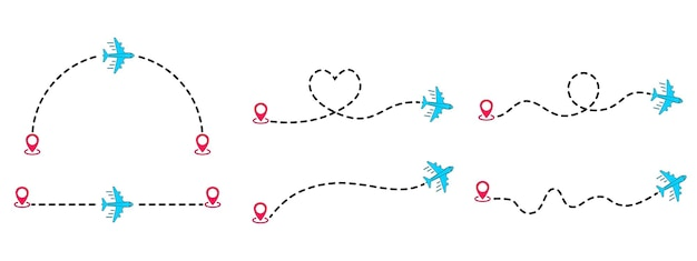 Linhas pontilhadas de rotas de aeronaves. trilha de avião a ponto com linha tracejada. turismo e viagens. voo de aviões com rastreamento pontilhado. traço de linhas de turismo e viagens com localização