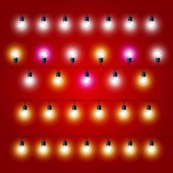 Linhas retas de luzes de natal - lâmpadas elétricas de carnaval amarradas
