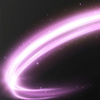 Linhas roxas luminosas de velocidade efeito de luz brilhante linhas de movimento abstratas onda de trilha de luz