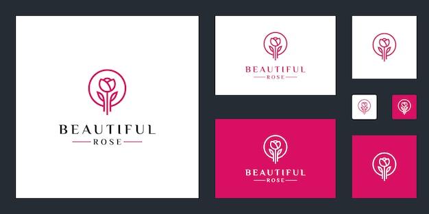 Linhas simples de inspiração de logotipo de flor rosa