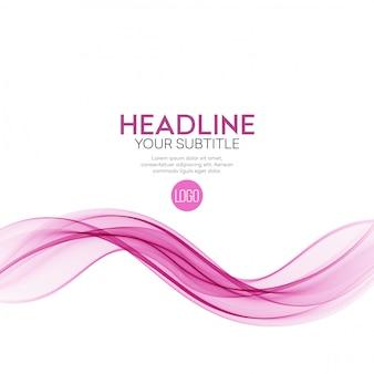 Linhas suaves transparentes fundo branco. cor magenta. ondas suaves rosa abstratas