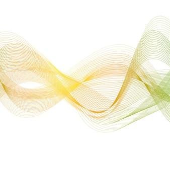 Linhas suaves verdes laranja. fundo ondulado do vetor