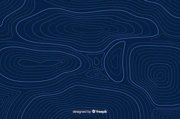 Linhas topográficas circulares sobre fundo azul