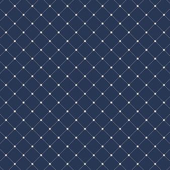 Linhas tracejadas quadrados sem costura azul de fundo.