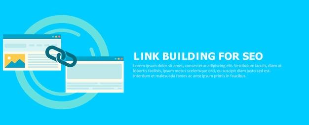 Link building para seo banner. duas páginas estão conectadas por uma corrente.