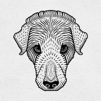 Linogravura preta para cachorro vintage desenhada à mão