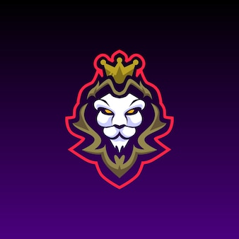 Lion head e sports logo mascote de jogos
