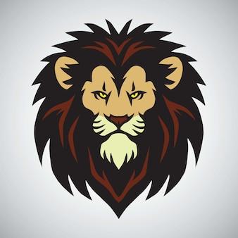 Lion head mascot logo design ilustração vetorial